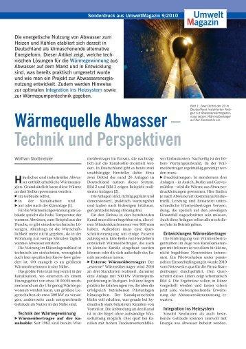 Wärmequelle Abwasser – Technik und Perspektiven - ECO.S