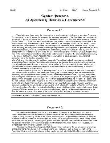 Napoleon Bonaparte: An Assessment by ... - Historyteacher.net