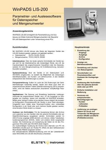 Datenblatt WinPADS200 DE02, 10.02.2006 - Elster-Instromet