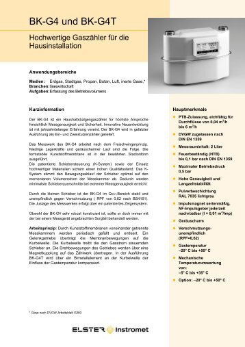 Datenblatt BK-G 4 DE03, 07.03.2006 - Elster-Instromet