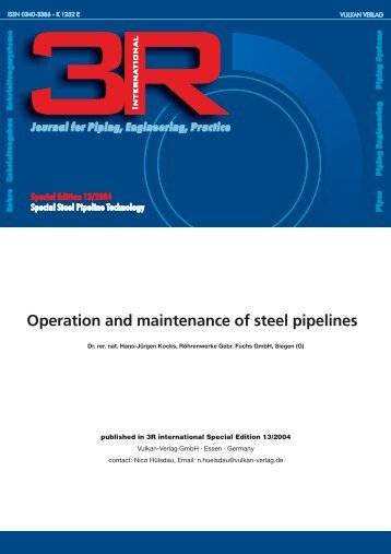 Operation and maintenance of steel pipelines