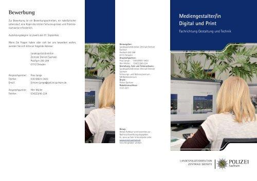 Mediengestalterin Digital Und Print Fachrichtung Polizei Sachsen