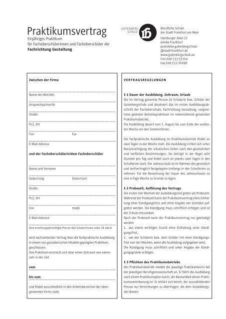 Praktikumsvertrag Gutenbergschule