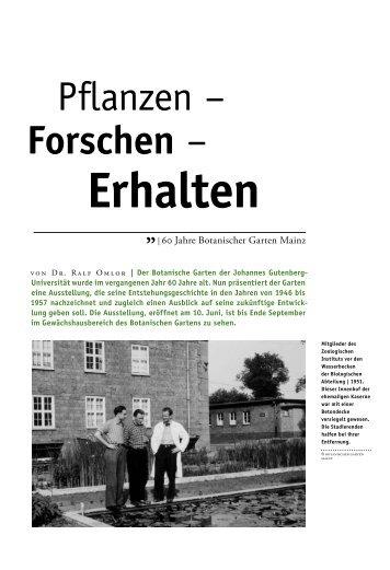 Sonderdruck zur Geschichte des Mainzer Botanischen Gartens ...