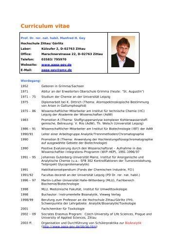 Curriculum vitae - Herzlich Willkommen bei Prof.Manfred Gey in Zittau