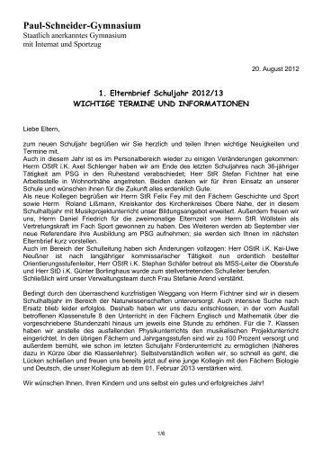 Elternbrief 1/2012-13 - Paul-Schneider-Gymnasium