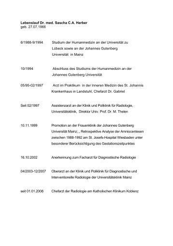 lebenslauf dr med sascha ca herber geb 27071966 61988 - Johannes Gutenberg Lebenslauf