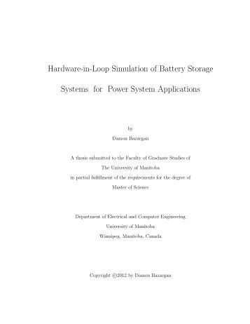 Hardware-in-Loop Simulation of Battery Storage Systems for Power ...