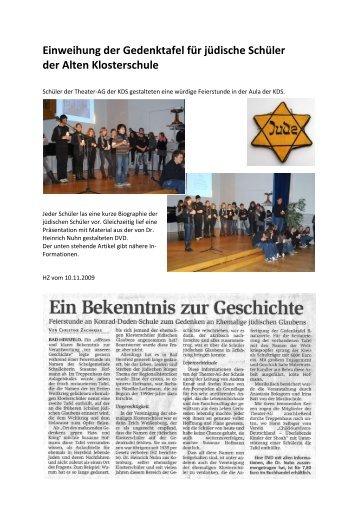 Einweihung der Gedenktafel für jüdische Schüler der Alten ...