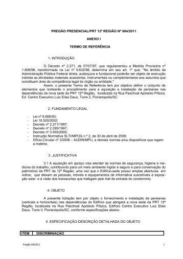 Retificação do Edital Alteração Anexo I - PRT 12ª Região