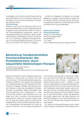 Behandlung therapierefraktärer Knochenmetastasen des ...
