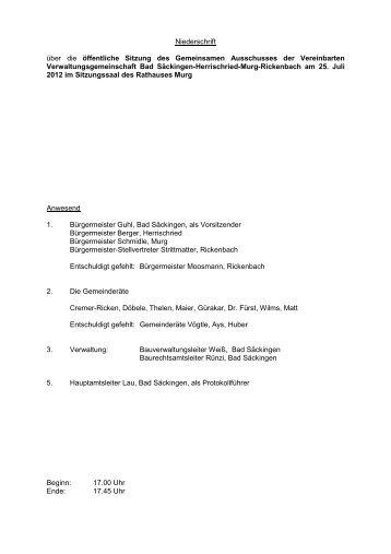 Niederschrift über die öffentliche Sitzung des Gemeinsamen ...