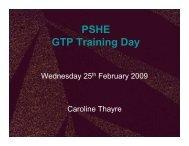 PSHE training GTPs 2009 - Czone
