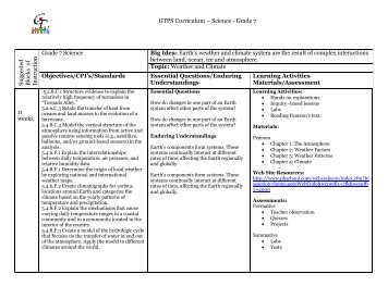GTPS Curriculum – Science - Grade 7 Su ggested B lock s of In stru ...