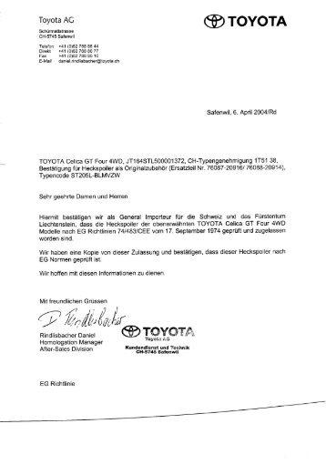 Toyota AG ® TOYOTA - GT Four Switzerland
