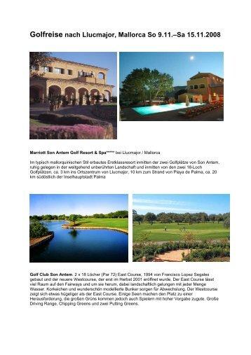 Golfreise nach Llucmajor, Mallorca So 9.11.–Sa 15.11.2008