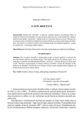 O TZW. BIOETYCE - Retina Forum