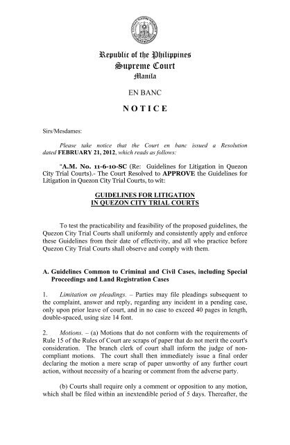 Guidelines for Litigation in Quezon City Trial Courts - Supreme Court ...