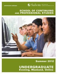 Summer 2012 School of Continuing and Professional Studies