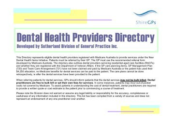Dental Providers Directory - the Sutherland Division of General ...