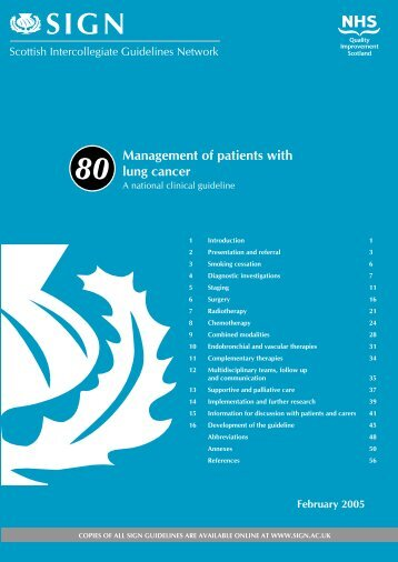 Management of patients with lung cancer. (SIGN Guideline No 80)