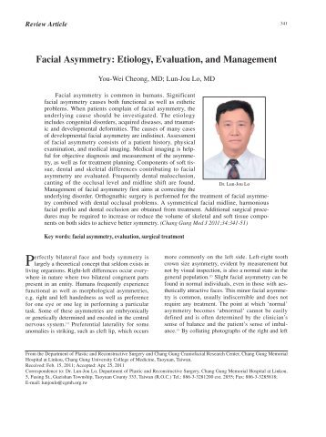 Facial Asymmetry: Etiology, Evaluation, and Management