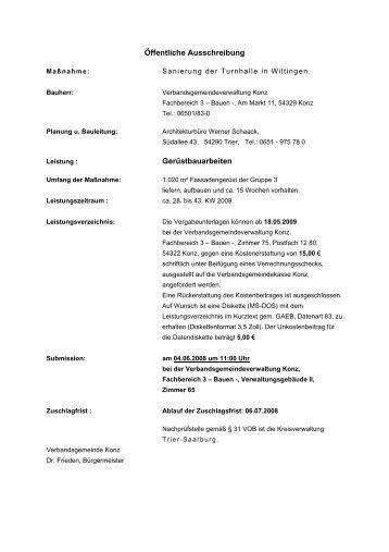 Öffentliche Ausschreibung Gerüstbauarbeiten - Konz