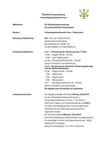 Rohrleitungserneuerung ZHB Wasserliesch - Konz