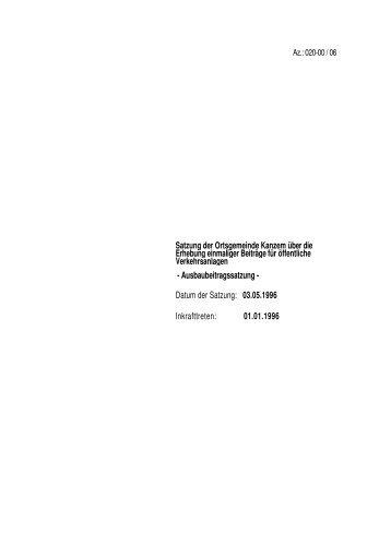Ausbaubeitragssatzung der Gemeinde Kanzem v. 03.05.1996 - Konz
