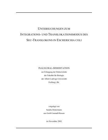 untersuchungen zum integrations - FreiDok - Universität Freiburg