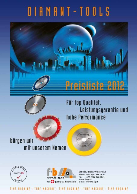 DIAMANT-TOOLS Preisliste 2012 - fuhrer+bachmann AG