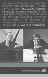 johannes brahms - Konzerthaus Dortmund