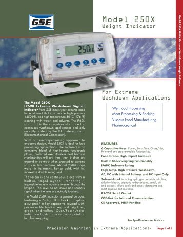 Model 250X - GSE Scales, Digital Indicators and Load Cells
