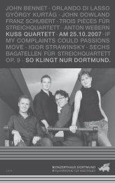 MY COMPLAINTS COULD PASSIONS - Konzerthaus Dortmund