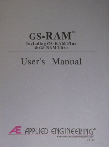 GS-RAM Manual 3.01 - Applied Engineering Repository