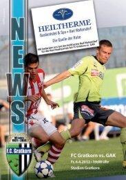 Das Aktuelle Stadionblatt zum Spiel - FC Gratkorn