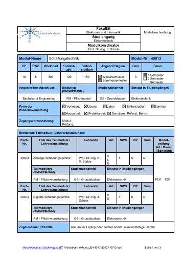 Schaltungstechnik - Studium - Elektronik und Informationstechnik ...