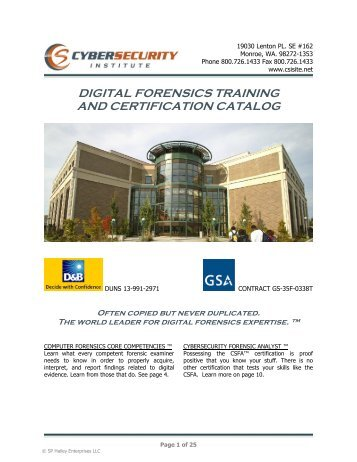 digital forensics training and certification catalog - CyberSecurity ...
