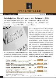 Subskription Alain Brumont des Jahrgangs 2006 - Felsenkeller AG