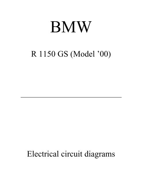 R 1150 Gs  Model  U0026 39 00  Electrical Circuit Diagrams