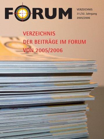 VERZEICHNIS DER BEITRÄGE IM FORUM VON 2005/2006