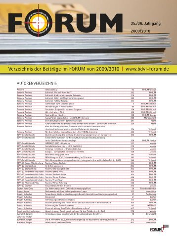 Verzeichnis der Beiträge im FORUM von 2009/2010 | www.bdvi-forum.de