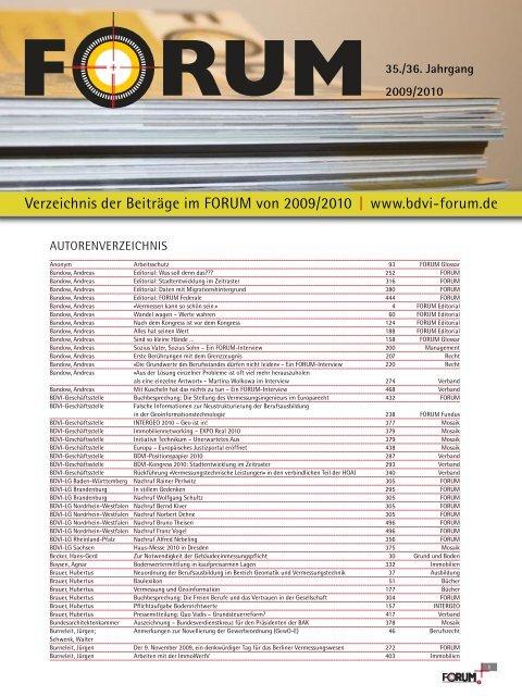 Verzeichnis der Beiträge im FORUM von 2009/2010   www.bdvi-forum.de