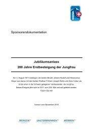 Sponsoring Konzept des Vereins Jungfrau4000+
