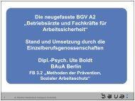 Die neugefasste BGV A2 - Bundesanstalt für Arbeitsschutz und ...
