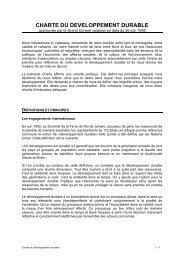 CHARTE DU DEVELOPPEMENT DURABLE - Fondation pour le ...