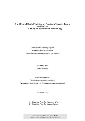 The Effect of Mental Training on Precision Tasks - KOPS ...