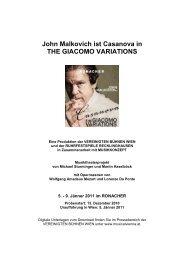 John Malkovich ist Casanova in THE GIACOMO VARIATIONS