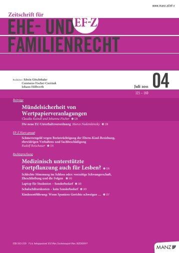 EF-Z 2011, 130 - Rechtsanwalt Dr. Nademleinsky