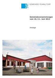 Reformierte Kirchgemeinde Rechnung 2011 - Gemeinde Fehraltorf